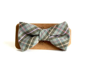 Green Plaid Bow Tie For Boys - Kid's Upcycled Plaid Bow Tie - Clip On Bow Ties - Easter Bow Ties - Matching Father Son Bow Ties