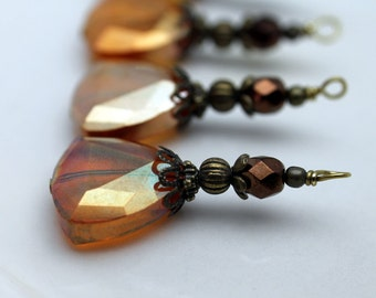 Rustic Deep Orange AB Triangle Crystal with Copper Czech Crystal Bead Dangle Charm Drop Pendant Set
