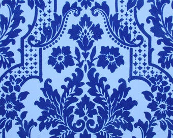 1970s Retro Vintage Wallpaper Blue on Blue Flocked Damask by the Yard