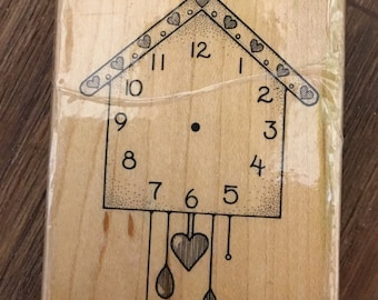 Hero Arts Tell Time Clock Wood Mounted Rubber Stamp