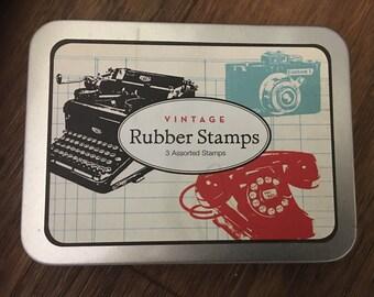 Cavallini & Co. Wood Mounted Vintage Stamp Set