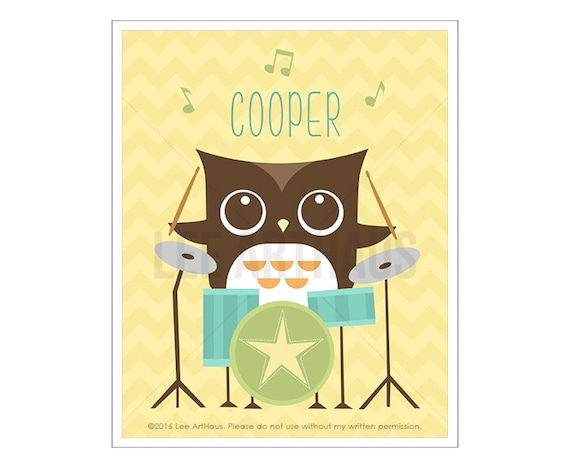 105P Owl Wall Art - Personalized Owl on Drums Wall Art - Custom Baby Boy Nursery Wall Art - Customized Baby Print - Custom Dummer Name Art