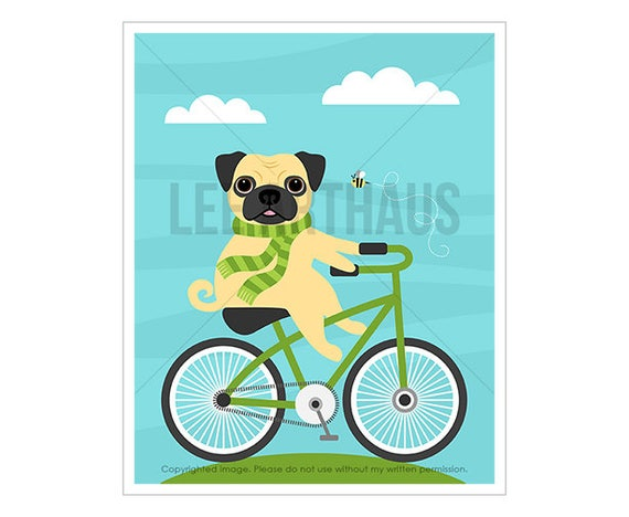 19D Dog Print - Pug Dog on Bicycle Wall Art - Pug Art - Pug Drawing - Dog Nursery - Pug Print - Bicycle Print - Bicycle Art - Dog Gift