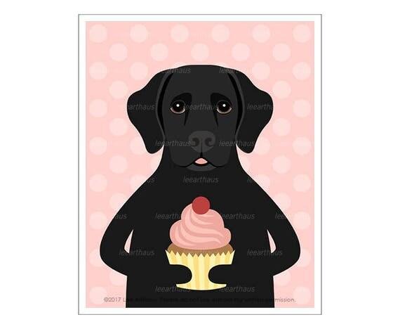 297D Cupcake Print - Black Labrador Eating a Cupcake Wall Art - Black Labrador Retriever - Pink Cupcake Art - Food Art Print - Black Lab Art