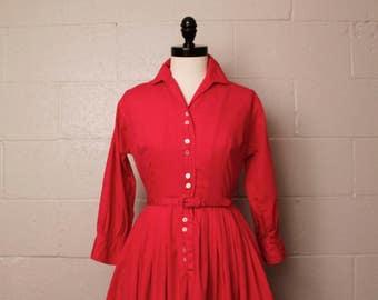 Vintage 1950's Hot Pink Cotton Shirtwaist Dress 26 W