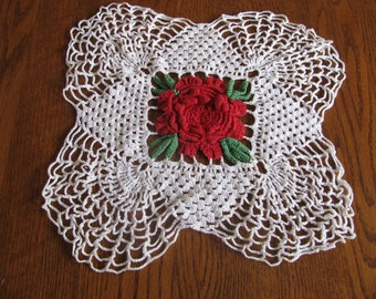 Vintage Crocheted red, green and white Rose cottage chic doily, table linen, centerpiece