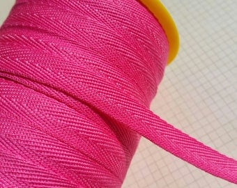"Bright Pink Twill Tape Trim - POLYESTER Sewing Bunting Shipping Packaging - 3/8"" Wide - 10 Yards"