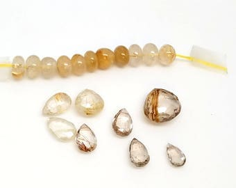 Mixed Lot of Golden Rutilated Quartz Beads Rondels and Briolettes Destash