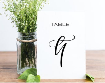 Hand Lettered Printable Table Numbers for Wedding Reception // 1-20 // Downloadable DIY Wedding // You'll receive TWO Versions!