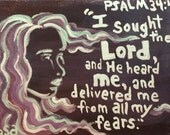 Psalm 34:4 Hand Painted Notecard