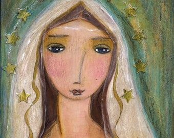 Our Lady of Lourdes -   Giclee print mounted on Wood (4 x 4 inches) Folk Art  by FLOR LARIOS