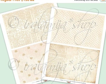 SALE BIG NEUTRAL backgrounds Collage Digital Images -printable download file- Digital Collage Sheet Vintage Paper Scrapbook