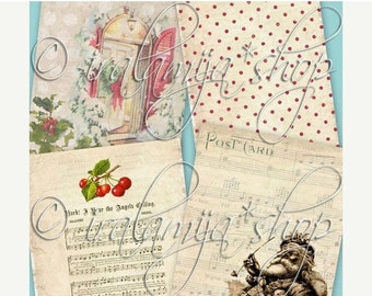 SALE JOLLY BACKGROUNDS Collage Digital Images -printable download file-