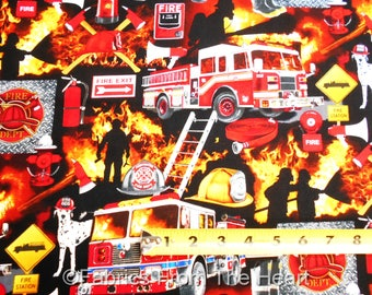 Firefighters Save Hearts & Home Firemen Fire  BY YARDS  Timeless Treasure Fabric
