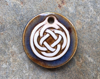 Blue Brown Ceramic Celtic Circle Pendant