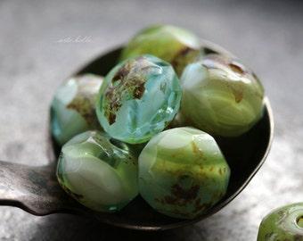 sale .. DREAMY .. 10 Premium Picasso Czech Glass Rondelle Beads 6x9mm (5647-10)