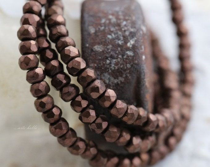 MATTE BRONZE BITS .. New 50 Czech Picasso Rondelle Glass Beads 2x3mm (5580-st)