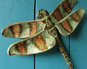 Dragonfly - large brass metal insect sculpture - wall hanging - with verdigris jade blue-green patina and iridescent red orange - OOAK