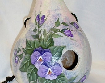 Pansies Gourd Birdhouse - Hand Painted Gourd