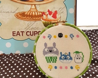 Forest Spirit Cupcakes 5 inch 13cm Cross Stitch - Totoro  Inspired Ready to Hang Original Pattern Anime Fan Art by Glamasaurus