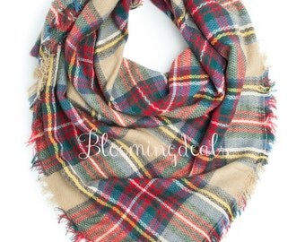 Blanket Scarf Oversized Plaid Tartan Tan-Red-Green Shoulder Wrap Monogrammed Winter Scarf Personalized Christmas Gift Under 30 Dollars