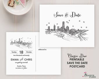 Classic Duo City Skyline - Printable Digital Download Wedding Save the Date - Postcard