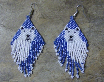 Polar Bear Earrings Hand Made Seed Beaded