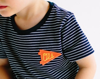 Navy striped kids top