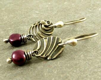 Freshwater Pearl Earrings PMC Jewelry Wire Wrapped Earrings