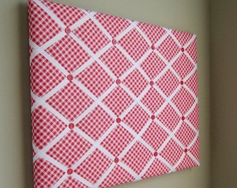On Sale 16x20 Memory Board, Bow Holder, Bow Board, Vision Board, Photograph Holder, Ribbon Board, Red & White Check Bias