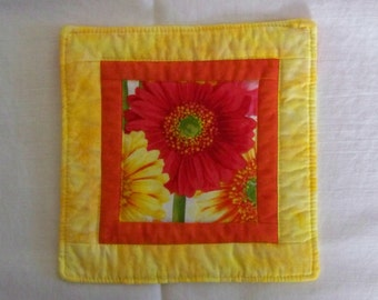 Bright Daisies Mug Rug Coaster or Mini Quilt in Yellow and Orange