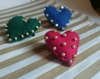 Stuffed Simple Beaded Hearts Brooch
