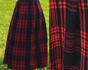 Vintage Skirt | Crimson Plaid 1980s Skirt 28 Waist