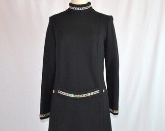 Vintage 1960s Mod Dress | 60s Black Mod Shift Dress | Black Wool Rhinestone Dress | Capriel