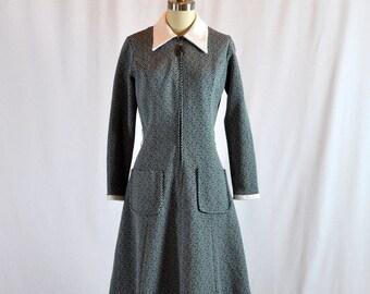 "Vintage Mod Dress | Hunter Green & White | 30"" Waist Large"