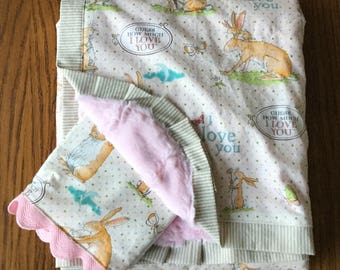 NEW...Guess How Much I Love You Minky Blanket and Burp Cloth Set...Personalization Available