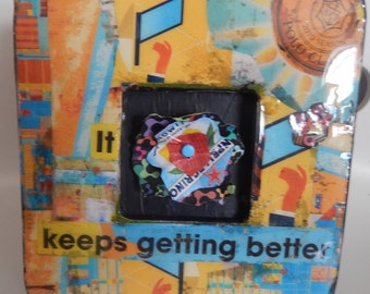 One of a Kind Collaged Frame w Recycled Aluminum Flower