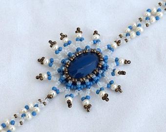 Blue onyx bracelet Beadwork bracelet with blue onyx cabochon and white freshwater pearls Gemstone and real pearls bracelet Israel art В149