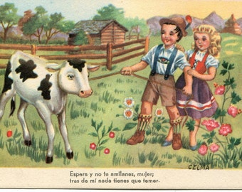 Children with calf vintage postcard - cow  vintage postcard, Spanish postcard, artist singed Celma