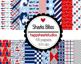 DigitalScrapbooking SharkBites  Shark, Ocean, Blue, Red-InstantDownload
