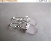 Mothers Day Sale Amethyst Sea Glass Earrings - Sea Glass - Beach Glass - Eco Friendly Earrings