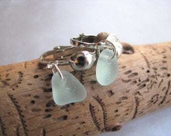 Aqua Blue Sea Glass Earrings - Clip On Earrings - Beach Glass Jewelry