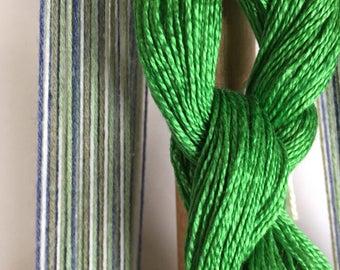 Versatile Blue Green Scarf Weaving Kit-Handmade-Handwoven-Rigid heddle loom- Floor loom-Weaving