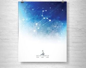 Leo Poster, Zodiac Leo Print, Zodiac Stars, Leo Constellation
