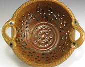 Ash Glaze/Orange Glaze Colander, Hand-Thrown, Stoneware SHIPPING INCLUDED