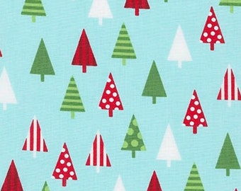 Nine (9) Yards -Jingle 4 Christmas Holiday Trees by Robert Kaufman Fabrics AAK-15906-70 Aqua