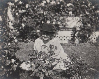 Original Vintage Photograph Snapshot Woman Sitting in Garden by Roses 1910s-20s