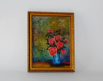 Vintage Impressionist Still Life Vase with Red Roses Oil Painting, circa 1945
