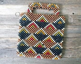Beaded Purse Small tote Czechoslovakian Purse Handbag Wooden Beads Zipper 1930s