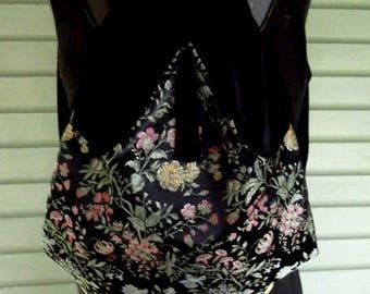 Floral Black Satin Backpack Renaissance Backpack Pink and Black Sinboho backpack boho slingbag black velvet bag backpacks boho cinch bag